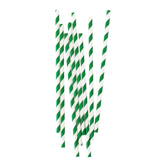 BUY ME / NEW ITEM $1.99 each Dark Green Stripe Paper Straws - 25 Pack