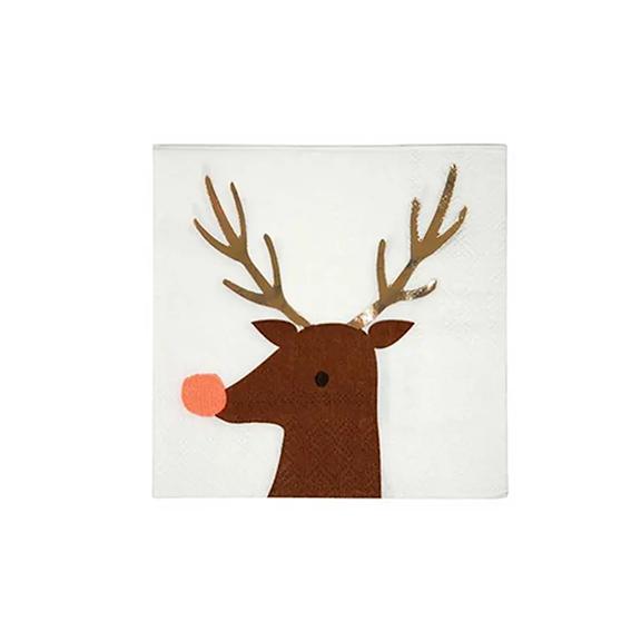BUY ME / NEW ITEM $6.99 each Reindeer Small Paper Napkins - 16 Pack