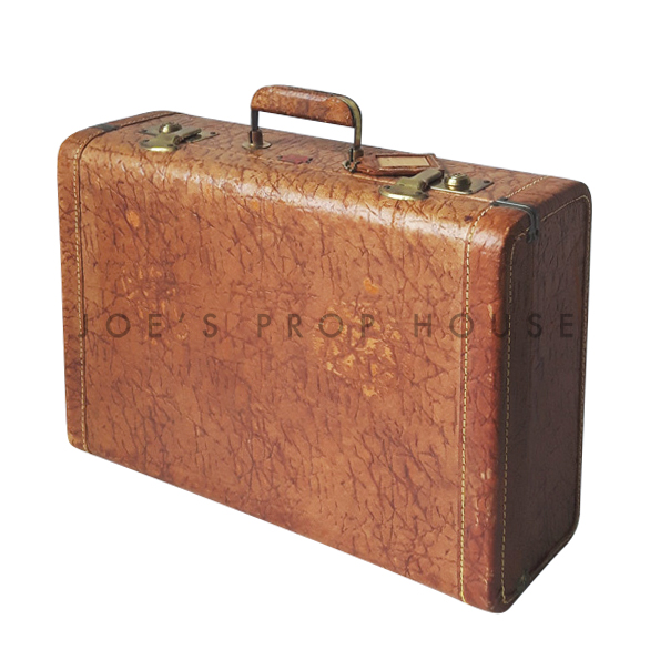 Reggie Hardshell Leather Suitcase Tan SMALL