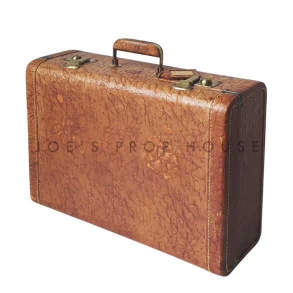 Reggie Hardshell Leather Suitcase Tan SMALL