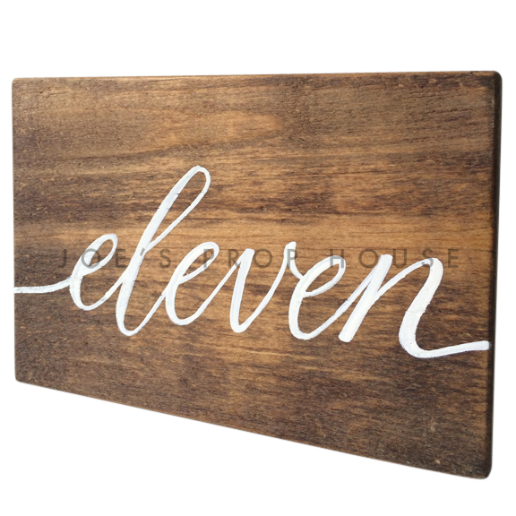 Wooden Table Number Block ELEVEN W7in x H5in