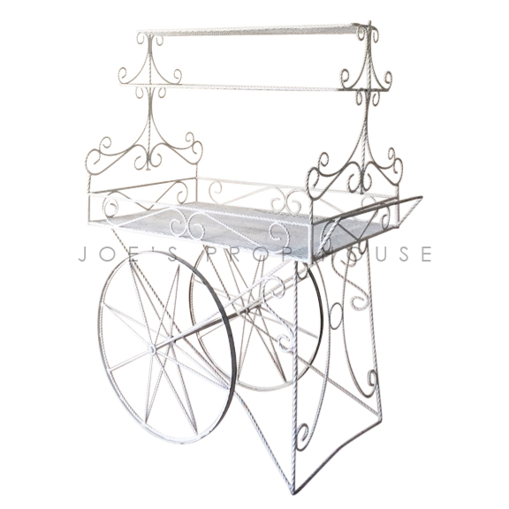 Decorative Metal Rolling Cart w/SHELVES White