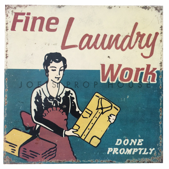 Fine Laundry Work Vintage Metal Sign