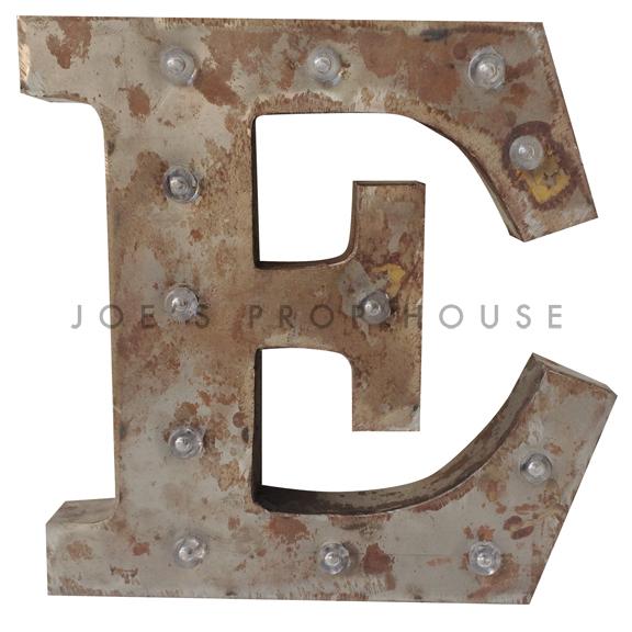 12in Galvanized Metal Marquee Letter E