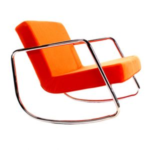 Fauteuil à Bascule Retro Chrome Orange