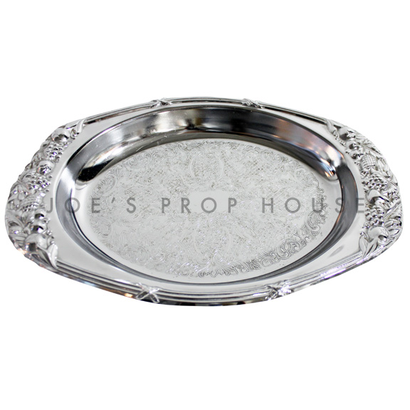 Christina Engraved Oval Silver Serving Tray