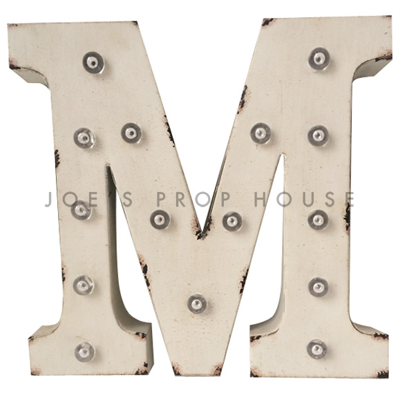 12in Ivory Metal Marquee Letter M
