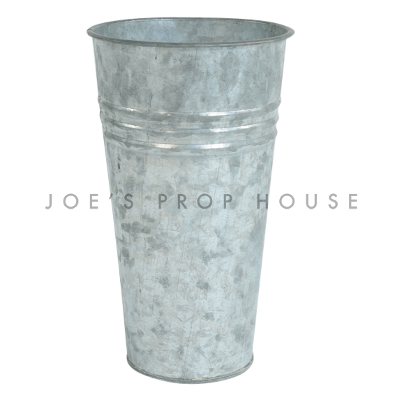 Three Stripe Galvanized Metal Bucket Tall
