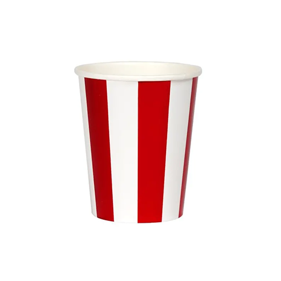 BUY ME / NEW ITEM $6.99 each Red Foil Stripe Paper Cups - 8 Pack