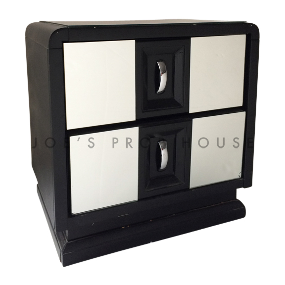 Retro Mirrored Nightstand Black