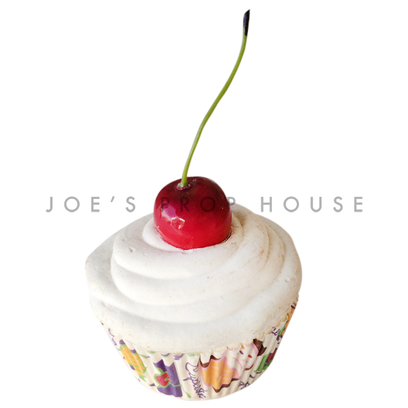 Vanilla Cream Cupcake w/Cherry on Top Dessert Prop