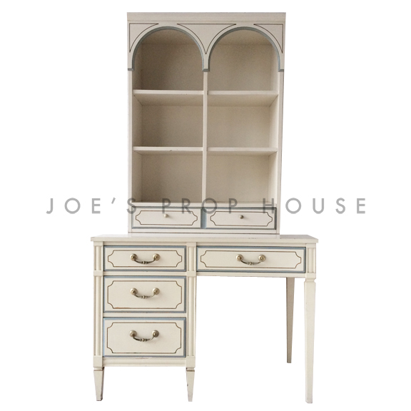 Amanda Desk and Arch Hutch Ivory w/Blue Trim