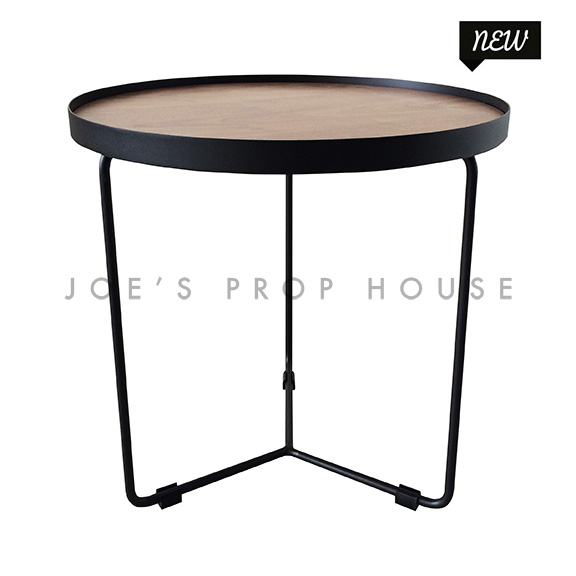 Holton Round Black Metal End Table w/Faux Wood Top D19.5in x H20in