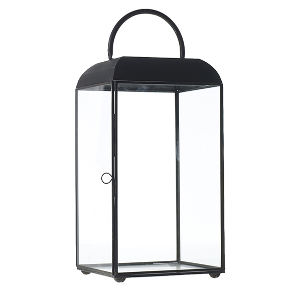 Maxwell Black Metal Lantern Small H14in