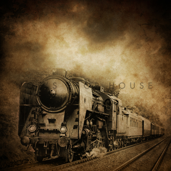 Toile de fond de vinyle Vintage Train