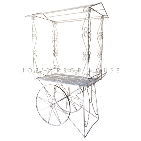 Decorative Metal Rolling Cart w/AWNING White
