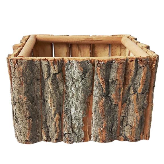 Panier d'écorce d'arbre carré brun