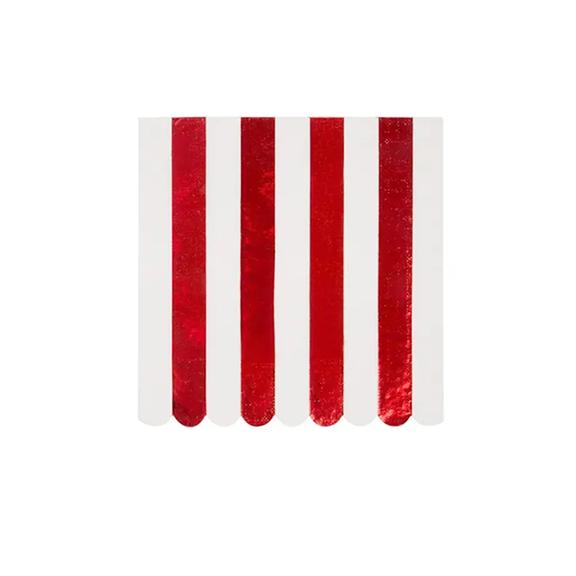BUY ME / NEW ITEM $8.99 each Red Foil Stripe Large Napkins - 16 Pack