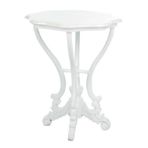 Scallop Round End Table White