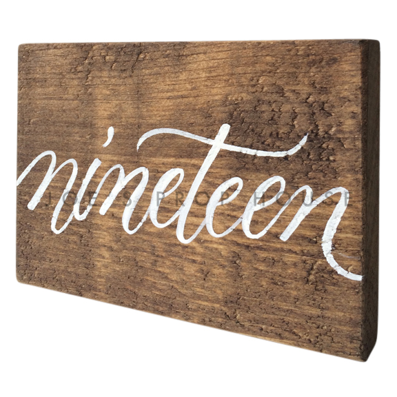 Wooden Table Number Block NINETEEN W7in x H5in