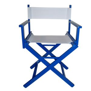 White Director Chair with Blue Frame