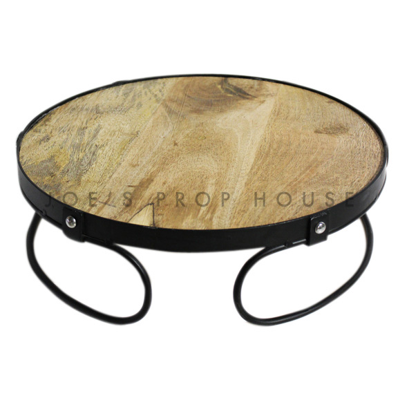 Embla Round Wood & Metal Cake Stand Large D16in