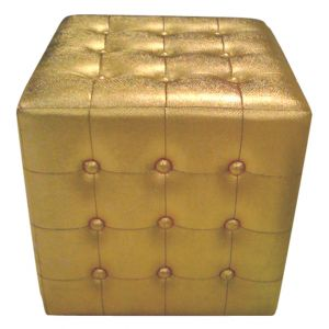 Metallic Square Tufted Ottoman Gold
