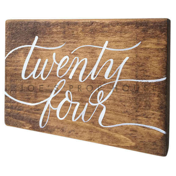 Wooden Table Number Block TWENTY FOUR W7in x H5in