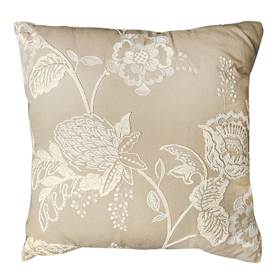 Embroidered Floral Pillow Beige & White