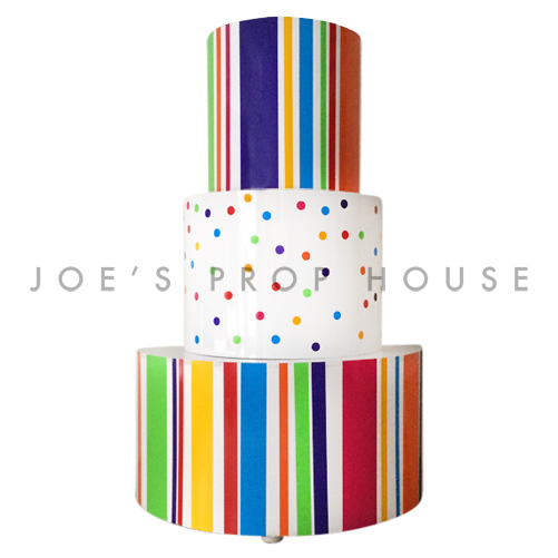 Giant Rainbow 3 Tier Stripe and Polka Dot Cake H9.5ft