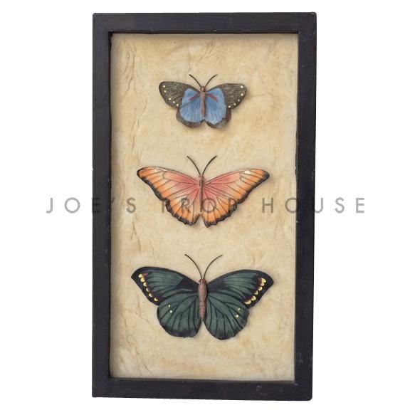 Rectangular 3D Butterfly Trio Wall Art