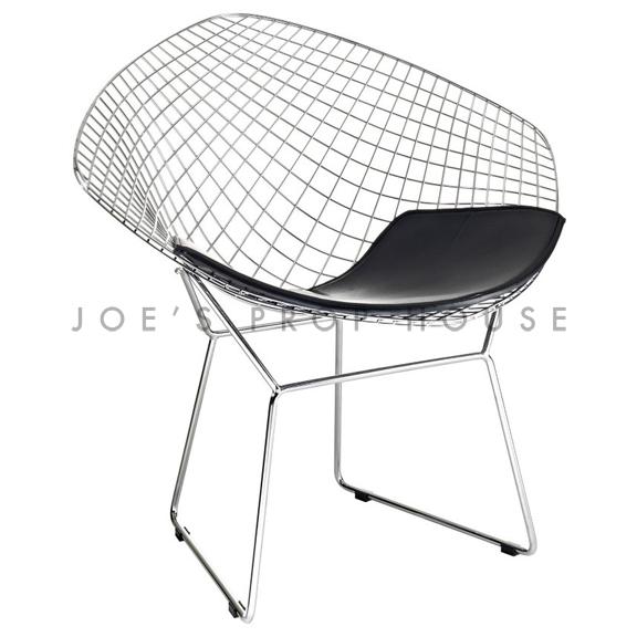 Replica Bertoia Wire Chair Black Cushion