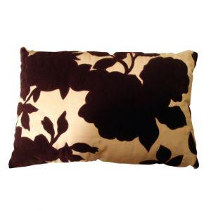 Velvet Flower Pillow Pink/ Black