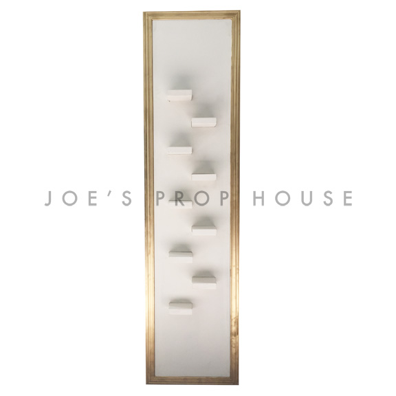 Self-Standing SHELF Wall Ivory w/Gold Molding W2ft x H8ft