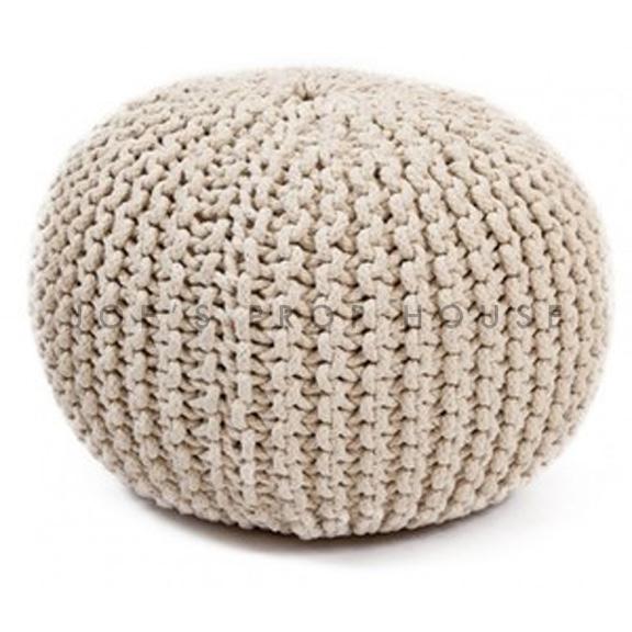 Mila Round Knit Ottoman Beige