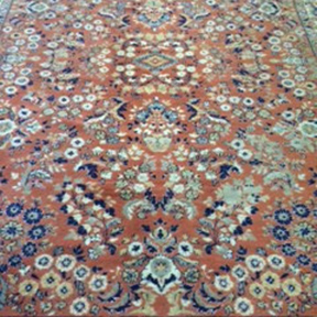 Peach + Navy Floral Persian Rug W8ft x L11ft
