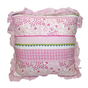 White and Pink Pillow w/ ruffle trim