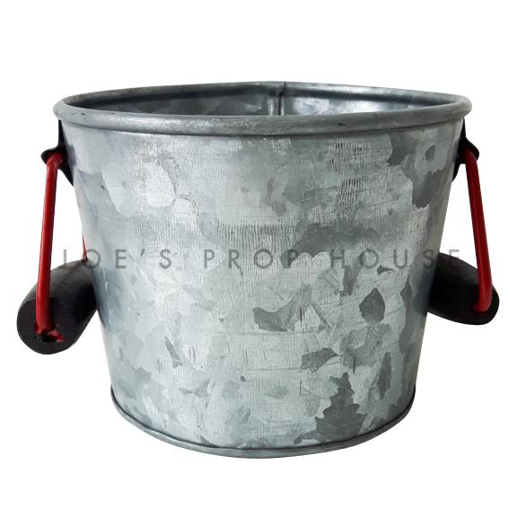 Short Galvanized Metal Bucket w/Red Handles