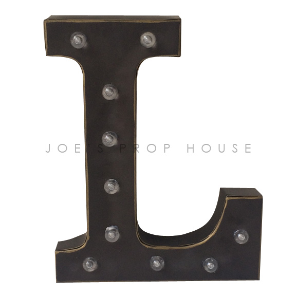 12in Charcoal Metal Marquee Letter L