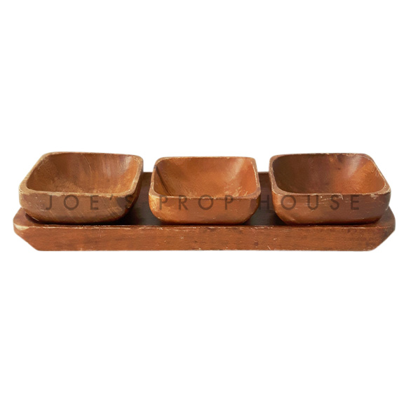 Leyla 3 Bowl Wooden Serving Tray