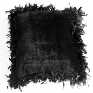 Black Velvet Feather Trim Pillow