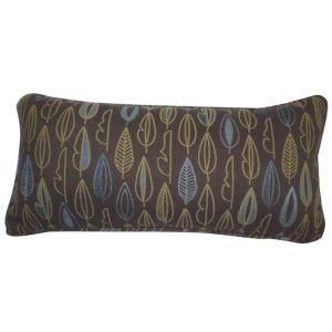 Brown Rectangular Leaf Print Pillow
