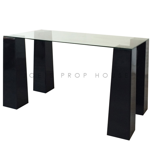 BUY ME / USED ITEM $495.00 each Rectangular Glasstop Console w/Black Tapered Risers