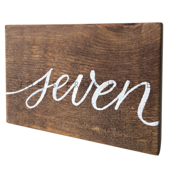Wooden Table Number Block SEVEN W7in x H5in