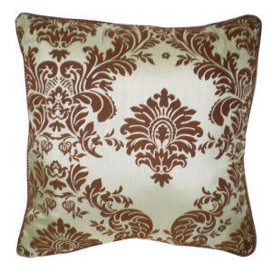 Brown & Blue Damask Pillow