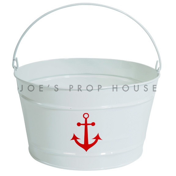 White Metal Bucket w/Red Anchor