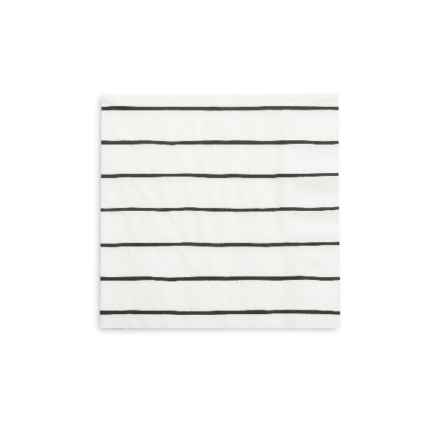 BUY ME / NEW ITEM $6.99 each Black Stripe Large Paper Napkins - 16 Pack