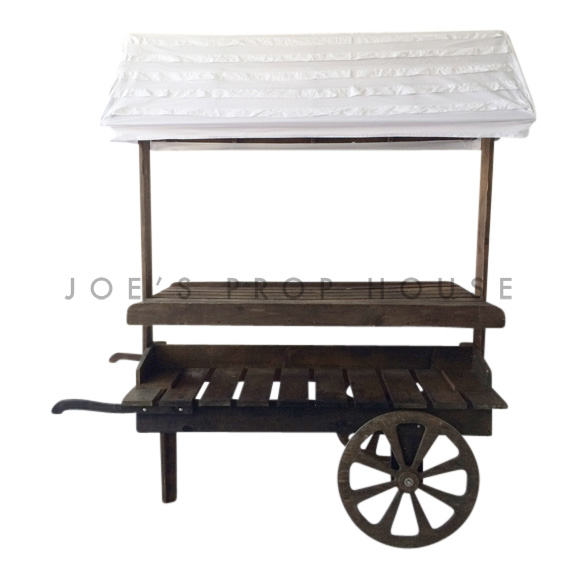 Wooden Market Cart w/White Pleated Awning