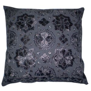 Black Embroidered Accent Pillow