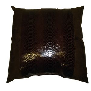Brown Faux Leather Alligator Skin Pillow